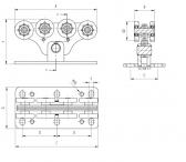 Vozík pre posuvnú bránu s 8 rolkami pre C-profil 94x85x5mm
