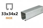 INOX C-profil pre závesnú bránu 33×34×2,0 , nerezový