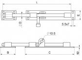 Rígeľ ø 12mm, dĺžka 250mm, pozinkovaný