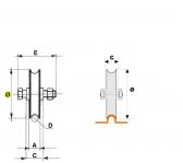 Koliesko koľajovej brány samostatné tvar U