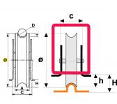Koliesko koľajovej brány na privarenie zapustené tvar U