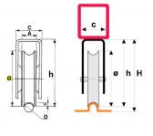Koliesko koľajovej brány na skrutkovanie s konzolou tvar U