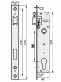 Zámok do bránky s hranatým predkom pre zapustenie 35mm