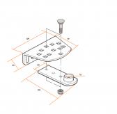 NICE PLA15 - nastaviteľná predná konzola pohonu krídlovej brány pre priskrutkovanie