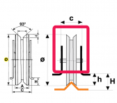 Koliesko koľajovej brány na privarenie zapustené tvar V