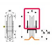 Koliesko koľajovej brány na skrutkovanie zapustené tvar V