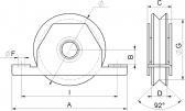INOX Koliesko koľajovej brány na skrutkovanie zapustené tvar V nerezové