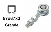 Vozík pre závesnú bránu 2 rolky s krytými ložiskami pre profil 57×67×3,0