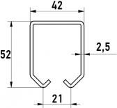 C-profil pre závesnú bránu 42×52×2,5