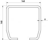 Sada pre samonosnú bránu s šírkou prejazdu nad 8,5m, C-profil 140x140x6mm, pozinkovaný, vozíky 5 roliek