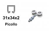 Vozík pre závesnú bránu 4 rolky pre profil 34×31×2,0 nylonový