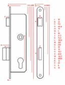 Zámok do bránky s oválnym predkom pre zapustenie 35mm čierny