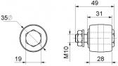 Sprevádzacia nylonová rolka konvexná Ø35x30