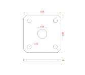 Kotviaca platňa 100x100 z brúsenej nereze naváracia k nastaviteľným pántom, otvor ø25mm