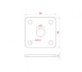 Kotviaca platňa 80x80 z brúsenej nereze naváracia k nastaviteľným pántom, otvor ø22mm