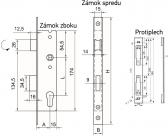 Zámok do bránky s hranatým niklovaným predkom pre zapustenie 35mm, ZZ-05