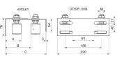 Nerezové vrchné vedenie 4 rolky s krytkami reguľovateľné INOX