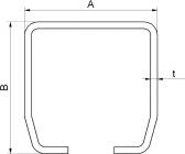 INOX C-profil 68x68x3 mm