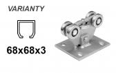 INOX Vozík pre nerezovú posuvnú bránu s 5 rolkami pre C-profil 68x68x3