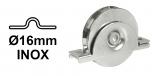 INOX Koliesko koľajovej brány pre koľajnicu Ø16 mm na skrutkovanie zapustené tvar U nerezové