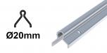 Koľajnica Ø20mm pre koľajovú bránu na zabetónovanie Zn, tvar U