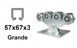 Vozík pre závesný profil 57×67×3,0, 8 roliek