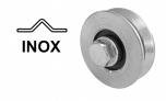 Koliesko koľajovej brány samostatné tvar V, INOX