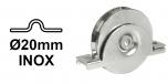 INOX Koliesko koľajovej brány pre koľajnicu Ø20 mm na skrutkovanie zapustené tvar U nerezové