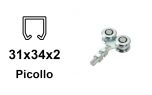 Vozík pre závesnú bránu 4 rolky s krytými ložiskami pre profil 34×31×2,0