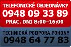 Objednávka po telefóne 0948093389 a technická podpora pohony 0948647783